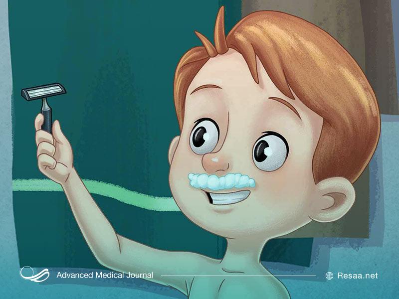 تصویر کارتونی از کودک پسر در حال اصلاح صورت